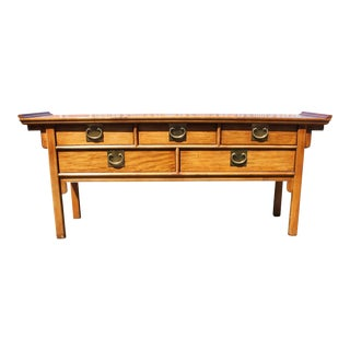 Vintage Century Furniture Natural Wood Console Altar Pagoda Table Chin Hua For Sale