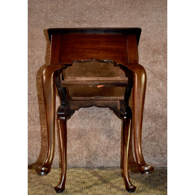 1970s 1970s Queen Anne Henkel-Harris Solid Cherry Side Table W/Drawer For Sale - Image 5 of 12