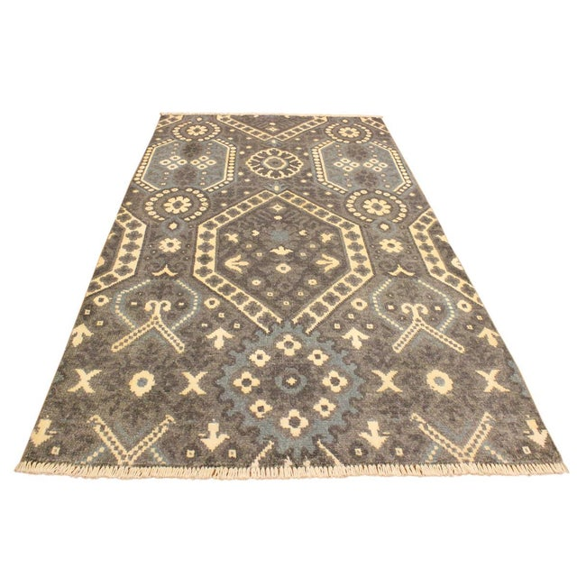 2010s Ezyln Modern Marcelle Gray/Ivory Wool & Viscouse Rug - 4'1 X 6'2 For Sale - Image 5 of 8