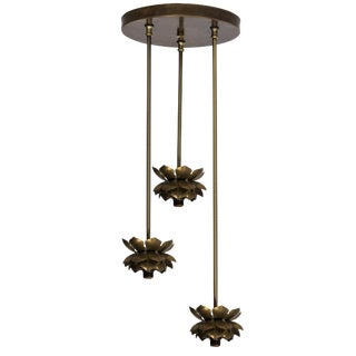 Feldman Brass Lotus Flower Three-Light Fixture For Sale