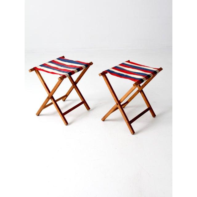 Vintage Striped Camp Stools - Set of 2 For Sale - Image 9 of 10