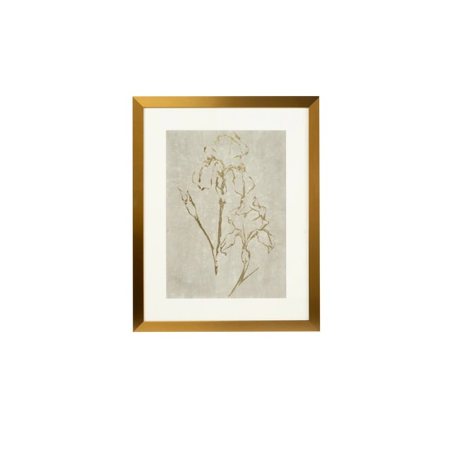 Framed Gold Foil Serigraph Watercolor Artwork For Sale