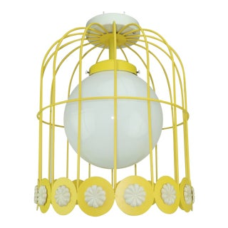 Mod C.1970 Yellow & White Birdcage Style Hanging Light Fixture For Sale