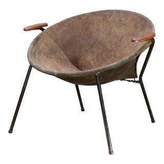 Hans Olsen Mid Century Danish Leather Balloon Chair For Sale