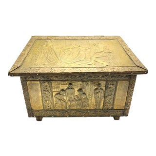 Large Antique Hand Made Wood and Repoussé Brass Scuttle Box For Sale