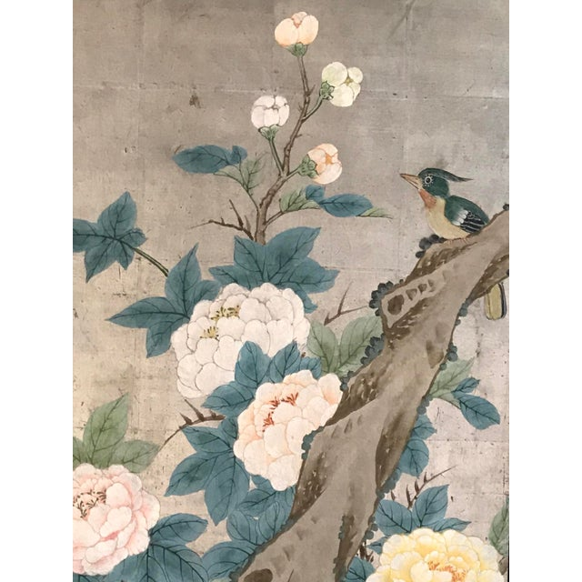 Chinoiserie Chinoiserie 6 Panel Folding Screen, Silver Leaf and Hand Painted With Spring Imagery of Birds, Lotus, Willow For Sale - Image 3 of 10