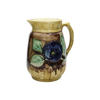 Antique Majolica Pansy Water Jug For Sale