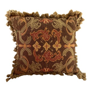 Woven Pillow With Tassel Fringe and Velvet Backing For Sale