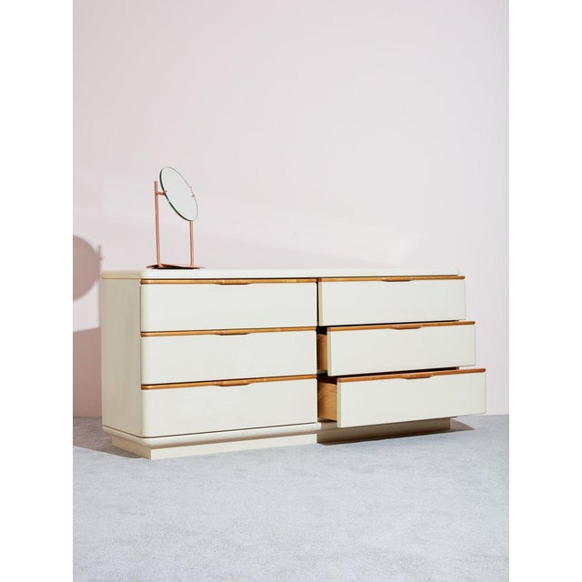 Vintage circa 1980s dresser by Lane Furniture. High quality craftsmanship and detailed design went into creating this...