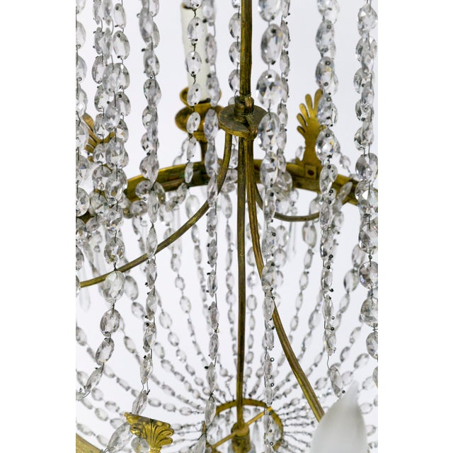 Gold 1920s Regency Tent and Bag Crystal Brass Chandelier For Sale - Image 8 of 11