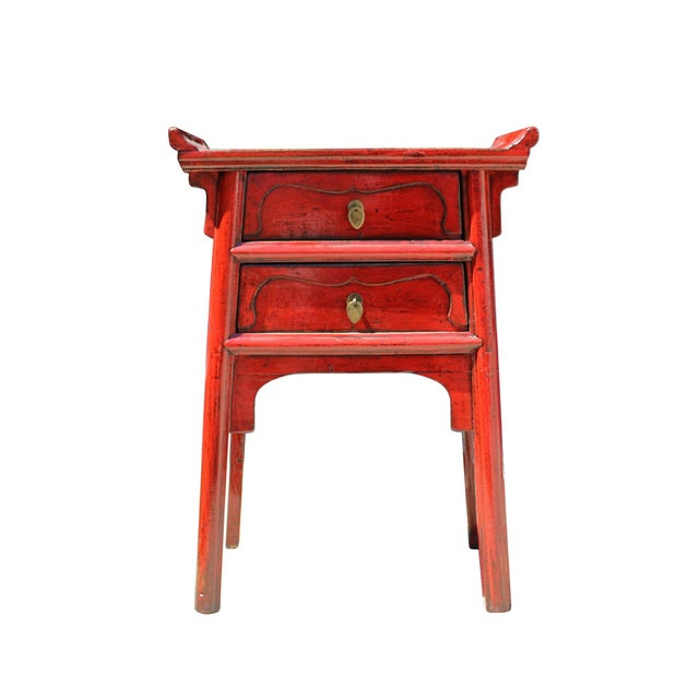 Wood Chinese Distressed Red Point Edge Narrow Slim Foyer Side Table For Sale - Image 7 of 7