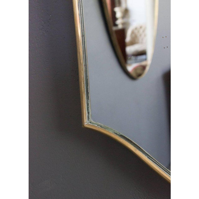 Mid-Century Modern Mid-Century Modern Italian Brass Mirror For Sale - Image 3 of 9