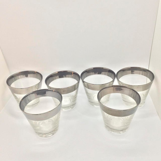 Dorothy Thorpe Mid-Century Platinum Banded Lowball Glasses - Set of 6 For Sale - Image 4 of 6