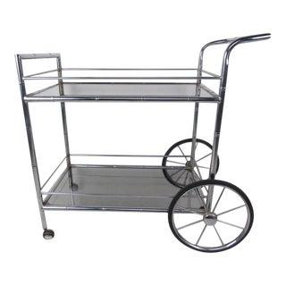 Vintage Modern Chrome and Glass Bar Cart For Sale