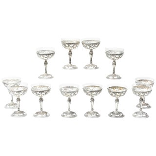 12 Silver & Crystal Dessert Coupes, 19th Century Elaborate Hand Chased Design For Sale