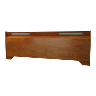 Mid Century Modern Long Full or Queen Size Headboard With Lights For Sale