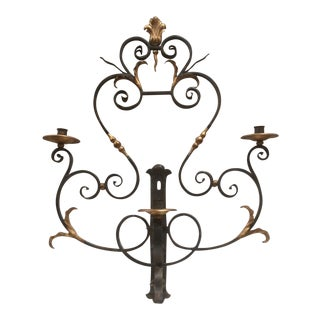 Hand Wrought Iron Candle Sconce For Sale