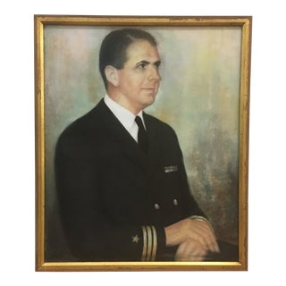 1965 Military Officer Pastel Portrait Painting
