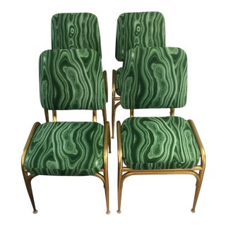 1960s Vintage Malachite Green Dining Chairs - Set of 4 For Sale