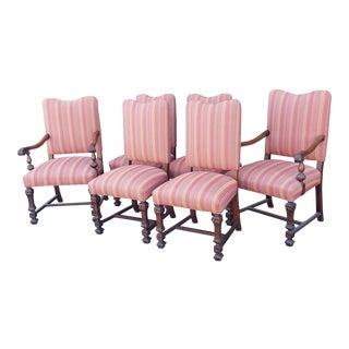 Set 6 1920s Jacobean Leonardo Furniture Walnut Renaissance Revival Dining Room Chairs For Sale