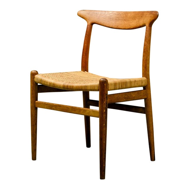 Mid-Century Oakwood and Woven Cane Side Chair W2 by Hans J. Wegner for c.m. Madsen, 1953 For Sale