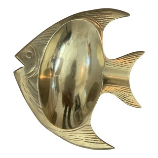 Vintage Brass Fish Catchall For Sale