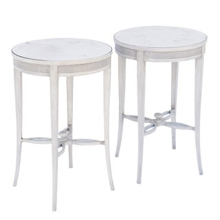 Pair of Painted Occasional Tables with Mirrored Tops For Sale