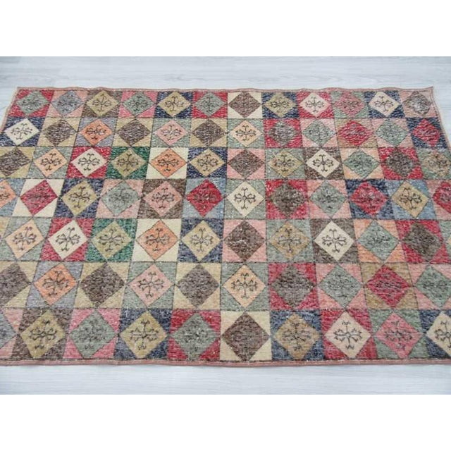 Vintage Turkish Colorful Deco Rug - 4′5″ × 7′2″ For Sale - Image 4 of 6