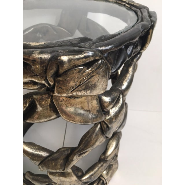 Resin Hollywood Regency Silver Leaf Ribbon Drinks Tables, Style of Tony Duquette For Sale - Image 7 of 13