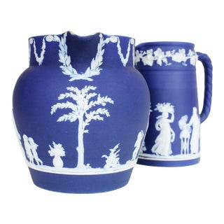 Early 20th Century Blue Jasperware Wedgwood Pitchers - a Pair For Sale