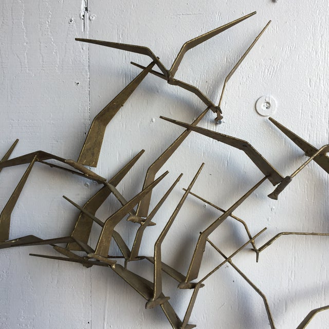 "Curtis Jere Mid-Century ""Flock of Seaguls"" Brutalist Metal Wall Sculpture - Image 6 of 7"