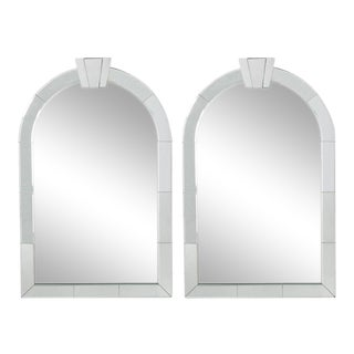 Dome Top Art Deco Venetian Mirrors - A Pair