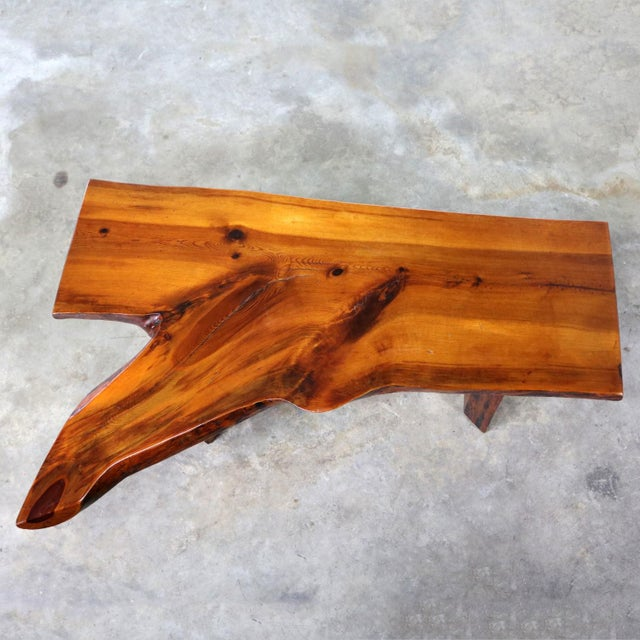 Live Edge Solid Slab Coffee Table or Bench in the Style of George Nakashima For Sale - Image 6 of 13