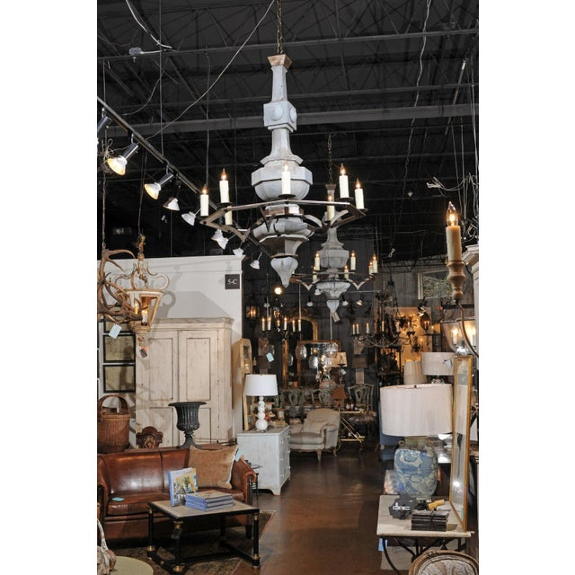 Grand Scale Contemporary Industrial Chandelier Made with 19th Century Zinc Finial For Sale - Image 10 of 11