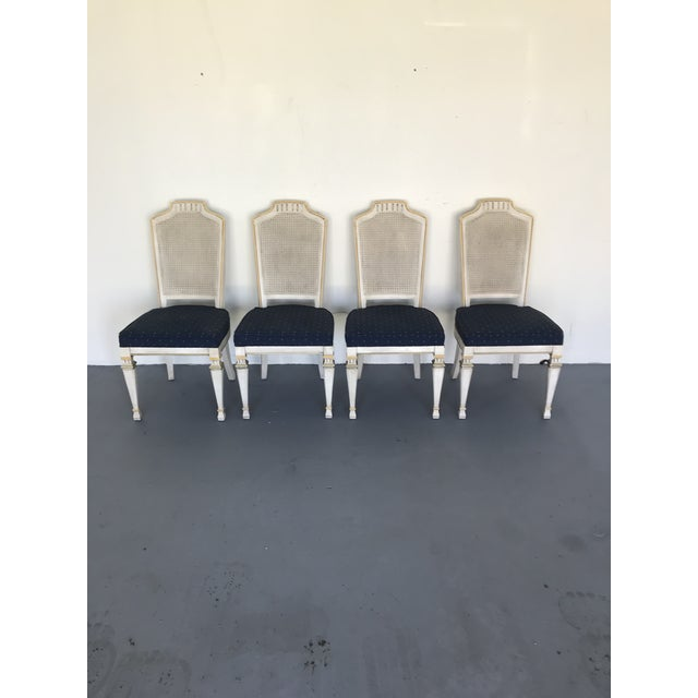 1970s Vintage Drexel Siena Furniture Italian Neoclassical Cane Back Dining Chairs- Set of 4 For Sale - Image 12 of 13