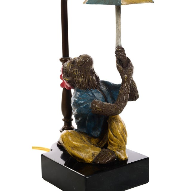 Blue Vintage Monkey Holding Umbrella Lamps - A Pair For Sale - Image 8 of 10