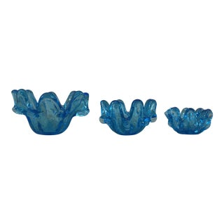 Mid-Century Blue Art Glass Bowls - Set of 3