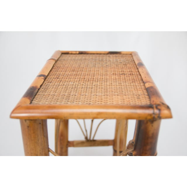 Mid 20th Century Vintage Chinoiserie Bamboo Side Table For Sale - Image 5 of 7