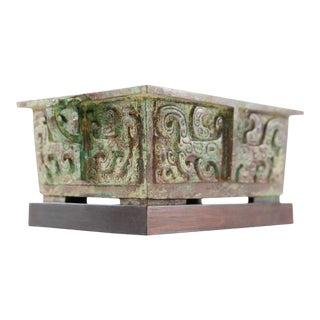 Lawrence & Scott Verdigris Bronze Patinated Incense Burner For Sale