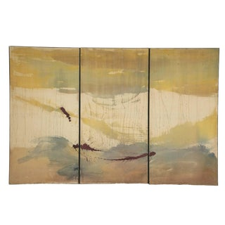A Large Tri-Part Oil on Canvas Painting in the Manner of Helen Frankenthaler For Sale
