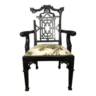 Modern Black Gothic Chippendale Chair For Sale