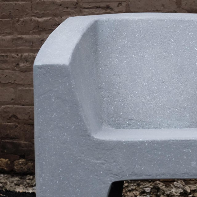 Contemporary Zachary A. Design Gray Stone Cast Resin 'Van Eyke' Club Chair For Sale - Image 3 of 9