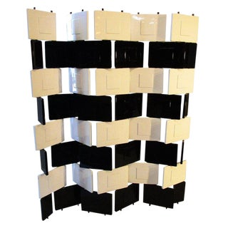 "Eileen Gray Black and White Lacquered ""Brick"" Screen For Sale"