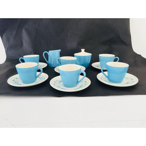 Blue Heaven Royal Under Glaze China Midcentury Atomic Blue & Grey Saucers Blue, White Teacups, Creamer and Sugar 15 -Pcs...