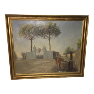 """Vintage """"Cowboy on Horse at Well"""" Oil Painting For Sale"""