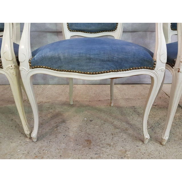 Set of 3 Large French Vintage Whitewashed Velvet Blue Upholstery Louis XV Armchairs For Sale - Image 10 of 13