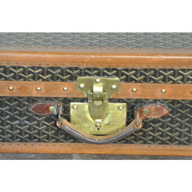 Mid 19th Century 19th Century French Goyard Suitcase on Wooden Saw Horse Stand For Sale - Image 5 of 6