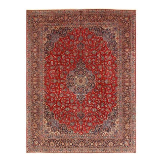 Red Semi Antique Persian Hand Knotted Fine Kashan 10'8'' X 14'1'' For Sale