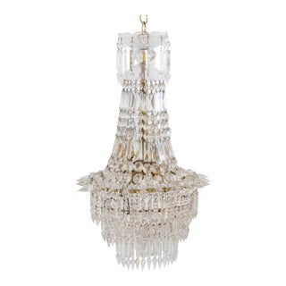 20th Century Crystal and Brass Basket Chandelier For Sale