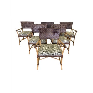 Hickory White Bamboo Rattan and Woven Leather Dining Chairs - Set of 6 For Sale